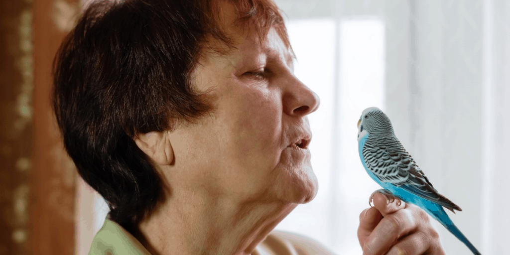lady with budgie